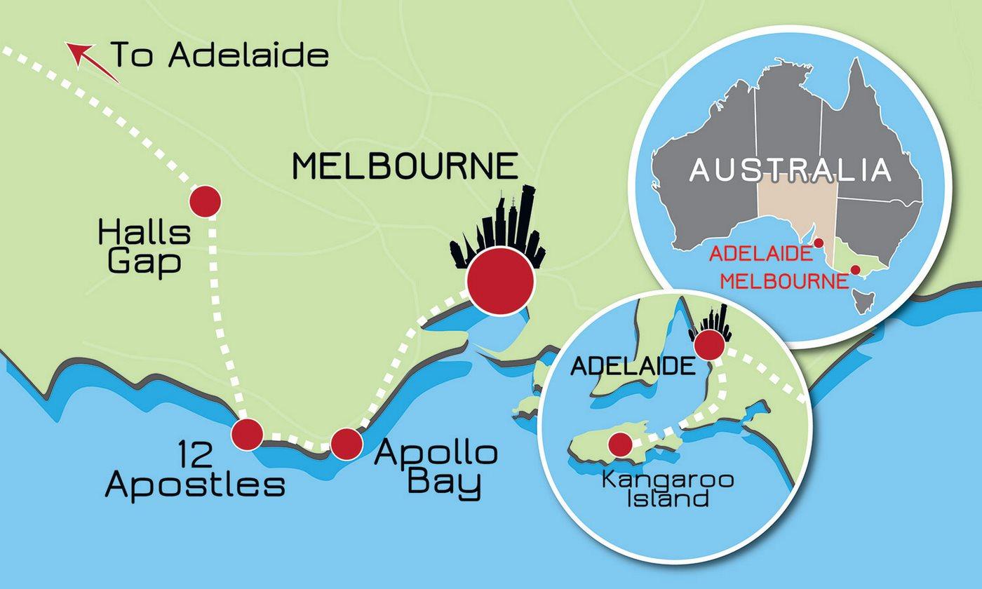 Kangaroo Island Australia Map.4 Day Kangaroo Island And Great Ocean Road Tour Wildlife Tours